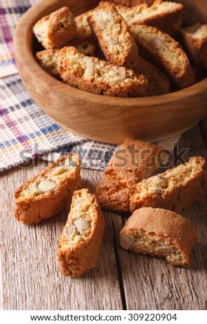 Homemade delicious cookies biscotti with almonds close-up on the table. vertical - stock photo