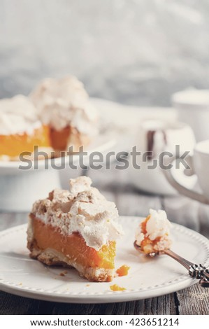 Homemade Delicious Pumpkin Pie made for Thanksgiving .Toned photo - stock photo