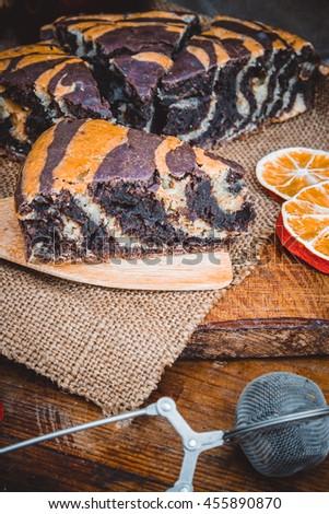 Homemade delicious zebra marble cake. - stock photo