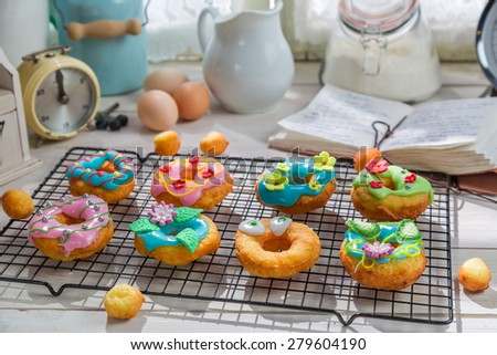 Homemade donuts made of fresh ingredients - stock photo