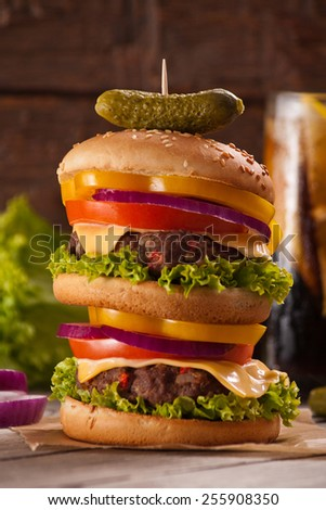 Homemade double-decker burger - stock photo