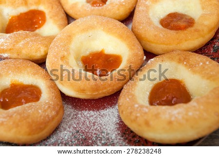 Homemade doughnuts with jam - stock photo