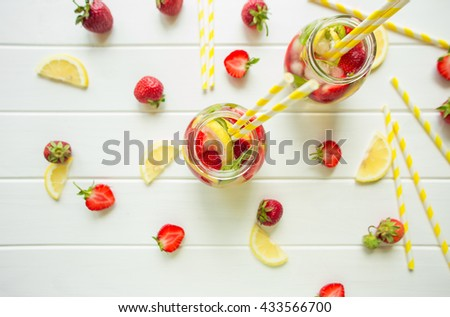 Homemade drink with strawberry and mint. top view - stock photo