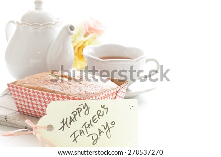 Homemade earl grey pound cake and message card for Father's day image - stock photo