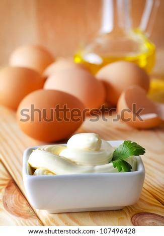 Homemade egg-free mayonnaise - stock photo