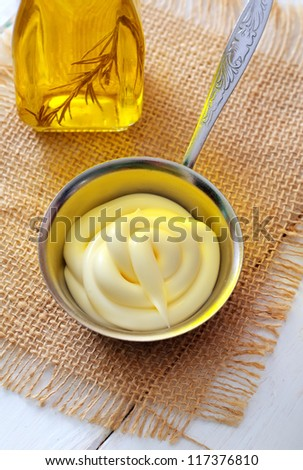 Homemade egg-free mayonnaise - stock photo