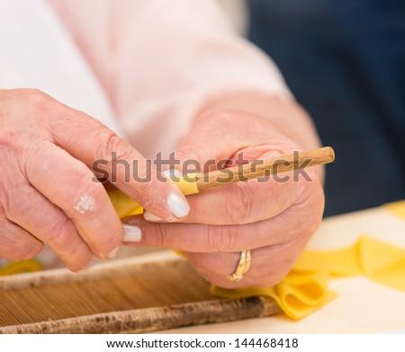 Homemade egg pasta, selective focus - stock photo