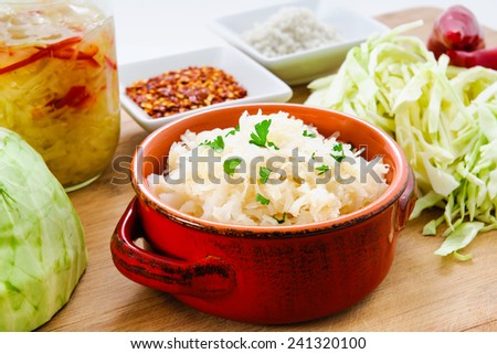 Homemade fermented cabbage sauerkraut - stock photo