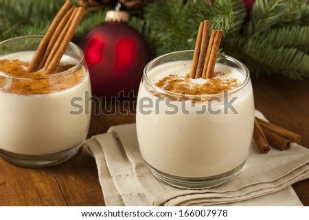 Homemade Festive Cinnamon Eggnog for the Holidays - stock photo