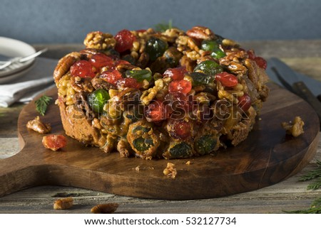 Homemade Festive Holiday Fruitcake with Nuts and Fruit