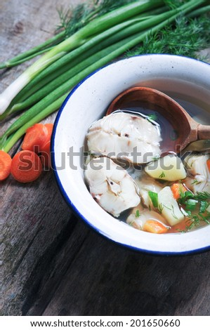 Homemade Fish soup  in bowl  - stock photo