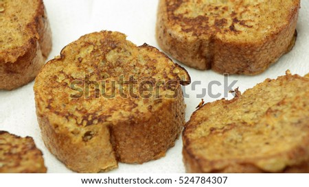 Homemade French Toast with Honey on White Plate