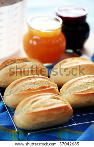 homemade fresh baked buns - food and drink - stock photo