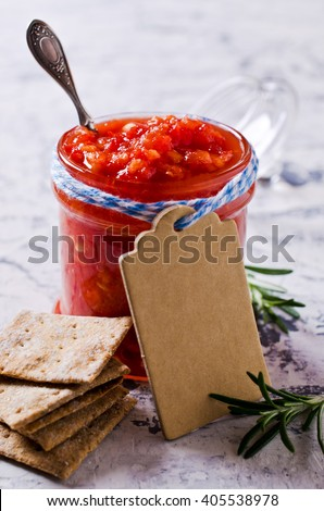 Homemade fresh salsa of tomato and pepper. Selective focus. - stock photo