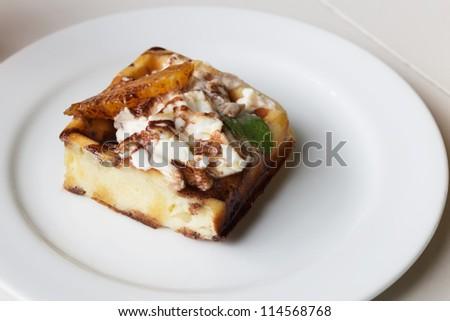 Homemade fresh sweet waffles cake on plate. - stock photo