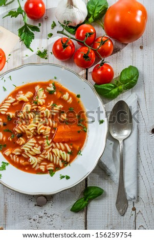 Homemade fresh tomato soup and vegetables - stock photo