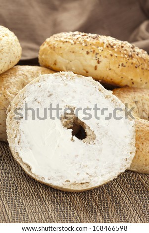 Homemade Fresh Whole Grain Bagel with cream cheese