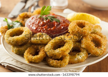 Homemade Fried Breaded Calamari with Marinara Sauce - stock photo