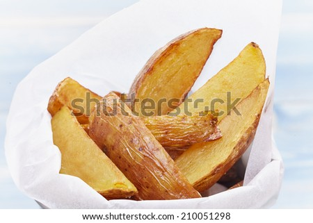 Homemade Fries in a small metal bucket - stock photo