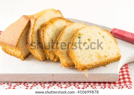 Homemade fruit bread slices on a board