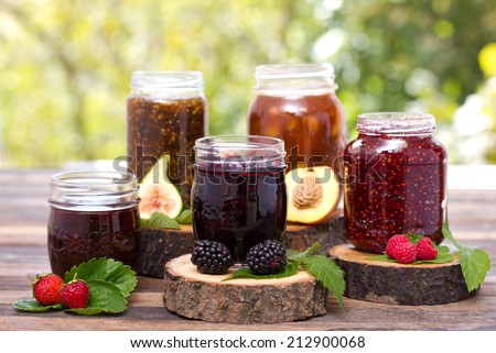 Homemade fruit jam in the jar - stock photo