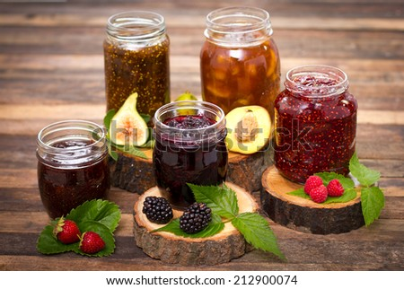 Homemade fruit jam in the jar - stock photo