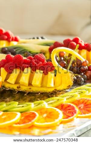 Homemade fruit plate of fresh fruit - stock photo
