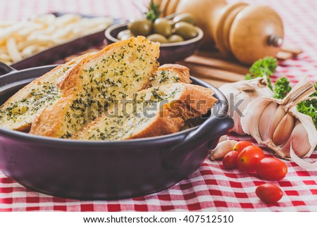 Homemade garlic  bread and herb