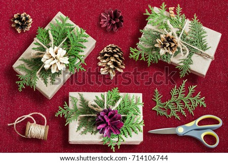 Homemade gift box decoration christmas diy stock photo 725696617 homemade gift box decoration for christmas diy hobby boxes are wrapped in kraft paper negle Images