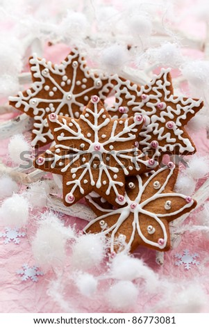 Homemade Gingerbread cookies for Christmas - stock photo