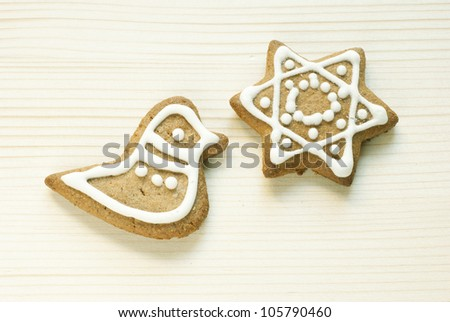 homemade gingerbread cookies on wooden - stock photo