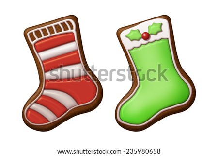 homemade gingerbread cookies with icing, Christmas stockings, socks; illustration isolated on white background - stock photo