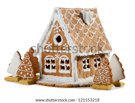 Homemade gingerbread house - stock photo