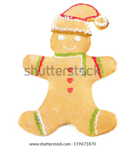 Homemade gingerbread man isolated on white