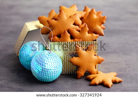 homemade gingerbread stars - sweet food - stock photo