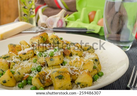 Homemade Gnocchi with Peas and Cheese, all organic.