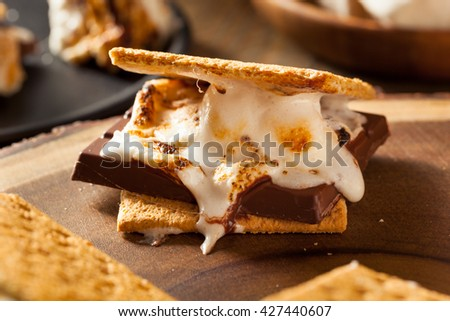 Homemade Gooey Marshmallow S'mores with Chocolate