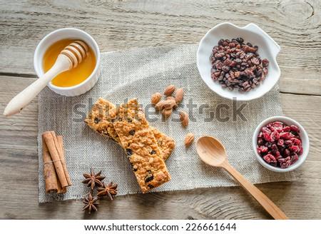 Homemade granola bars on the sackcloth - stock photo