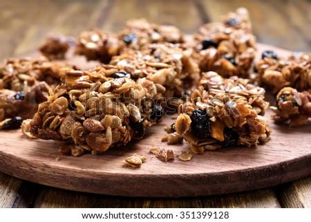 Homemade granola pieces, close up view - stock photo