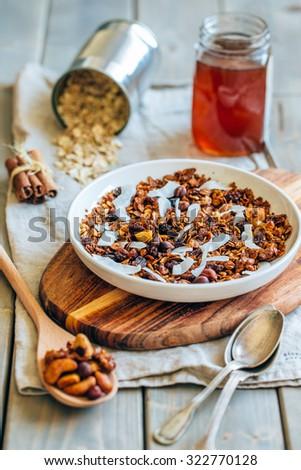 Homemade granola. selective focus - stock photo