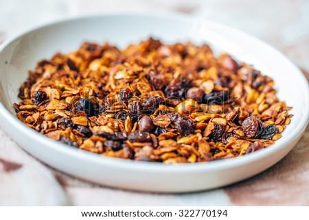 Homemade granola . selective focus - stock photo