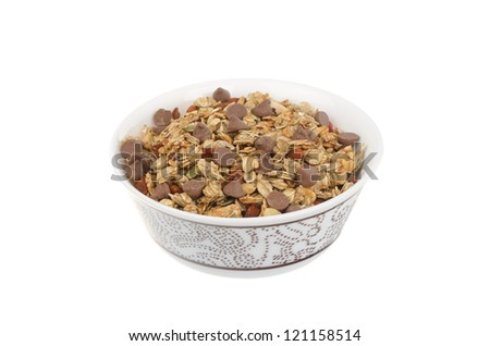 Homemade granola with chocolate drops isolated