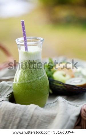 Homemade green juice made from fresh fruit and vegetable - stock photo