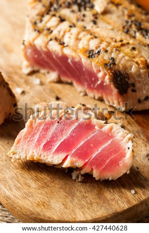 Homemade Grilled Sesame Tuna Steak with Soy Sauce - stock photo