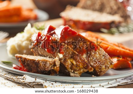 Homemade Ground Beef Meatloaf with Ketchup and Spices - stock photo