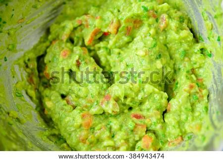 Homemade guacamole, closeup - stock photo
