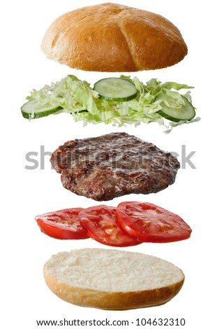 Homemade hamburger ingredients - stock photo