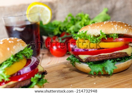 homemade hamburger with fresh vegetables, close up - stock photo