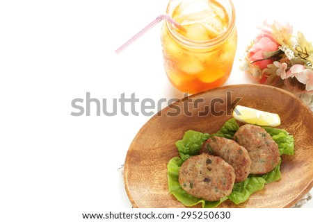 Homemade hamburgur and iced tea - stock photo