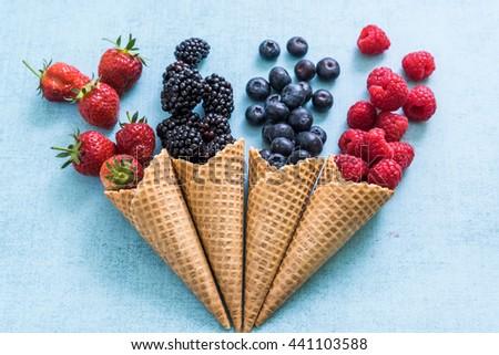 homemade healthy ice cream cones, overhead view - stock photo